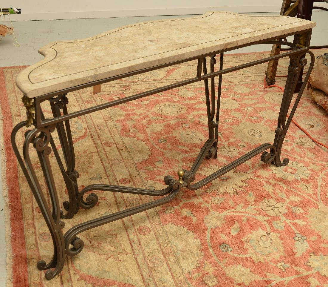 Louis XV style wrought iron, brass console table - 9