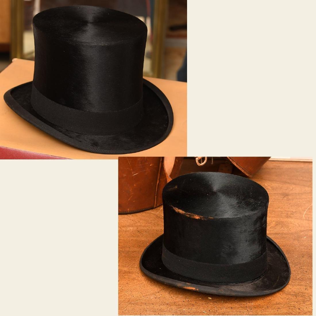 (2) vintage top hats
