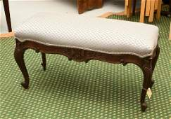 Louis XV style carved walnut bench