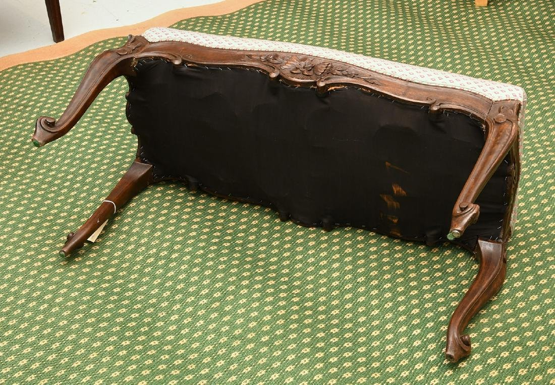 Louis XV style carved walnut bench - 8