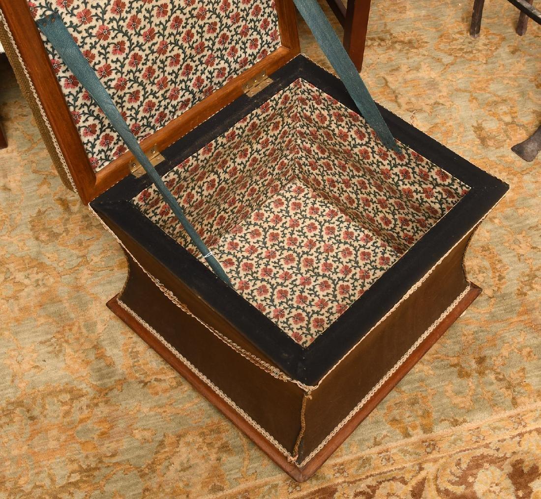 Victorian needlepoint storage ottoman - 5
