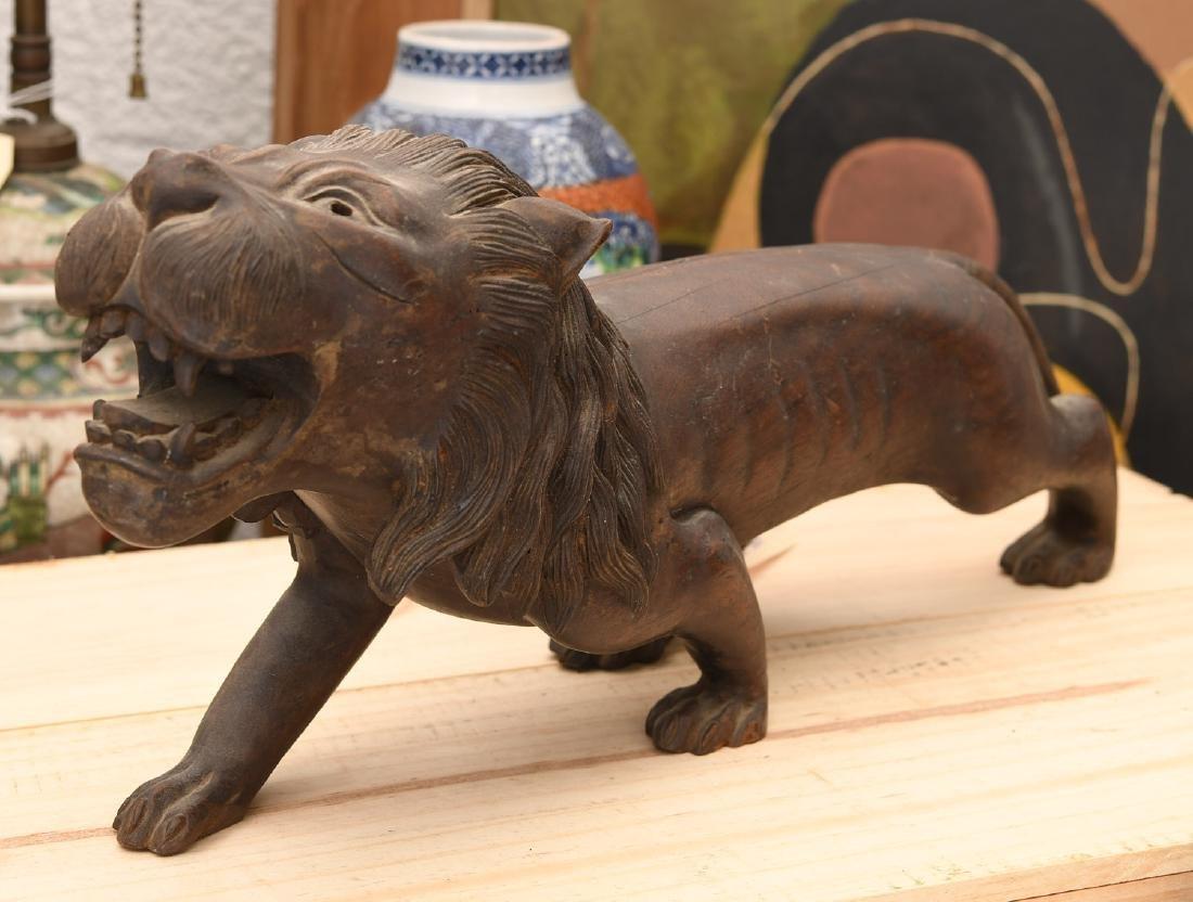 Large carved wood Folk Art lion