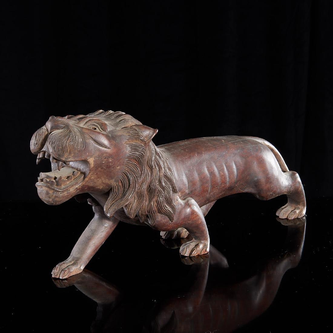 Large carved wood Folk Art lion - 2