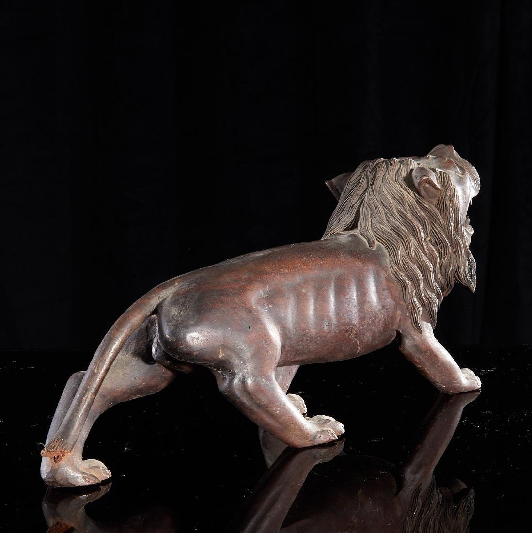 Large carved wood Folk Art lion - 4