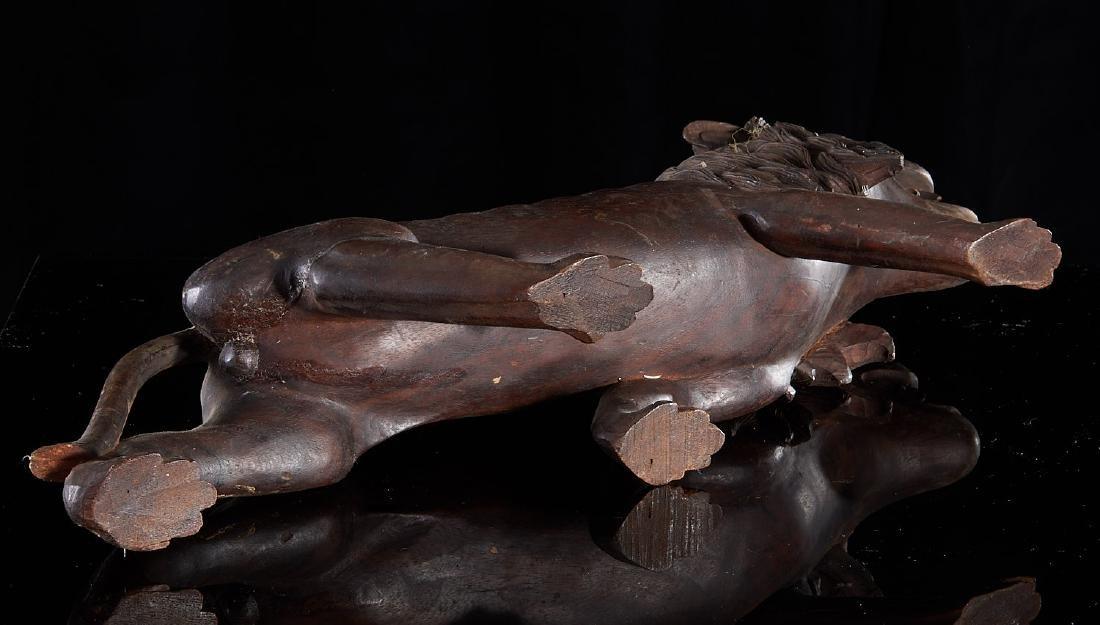 Large carved wood Folk Art lion - 6
