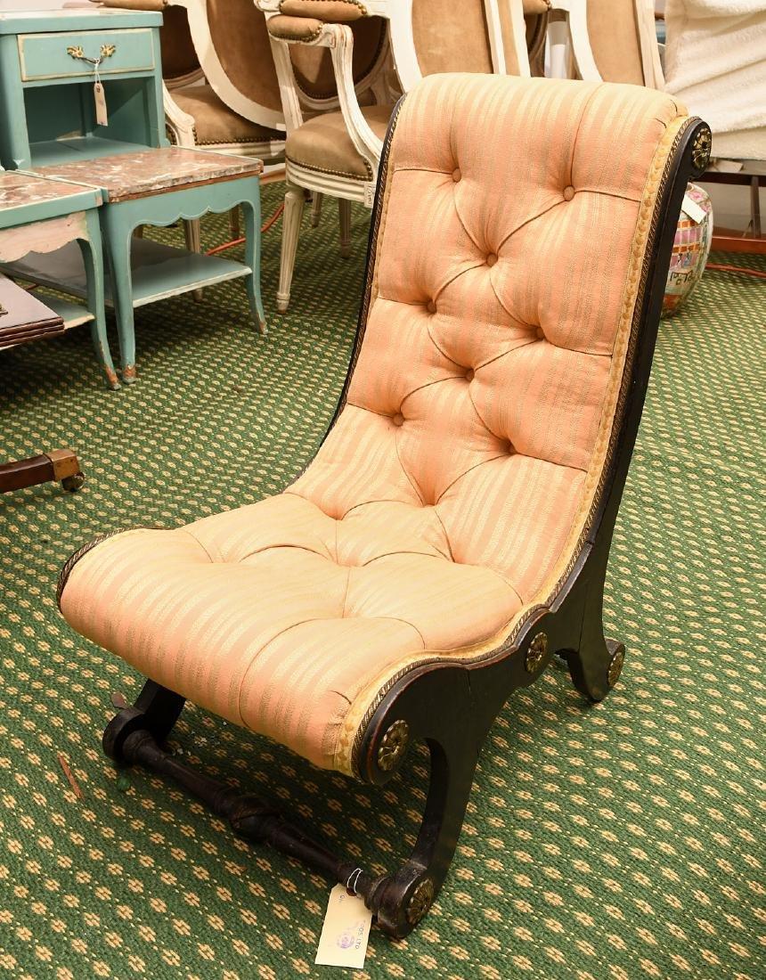 Regency style ebonized slipper chair