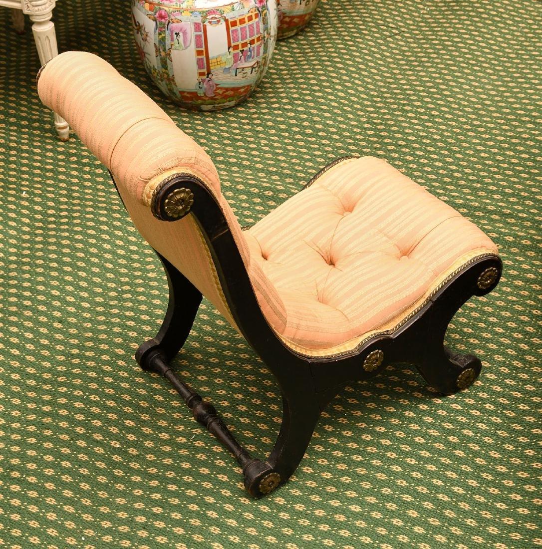 Regency style ebonized slipper chair - 4