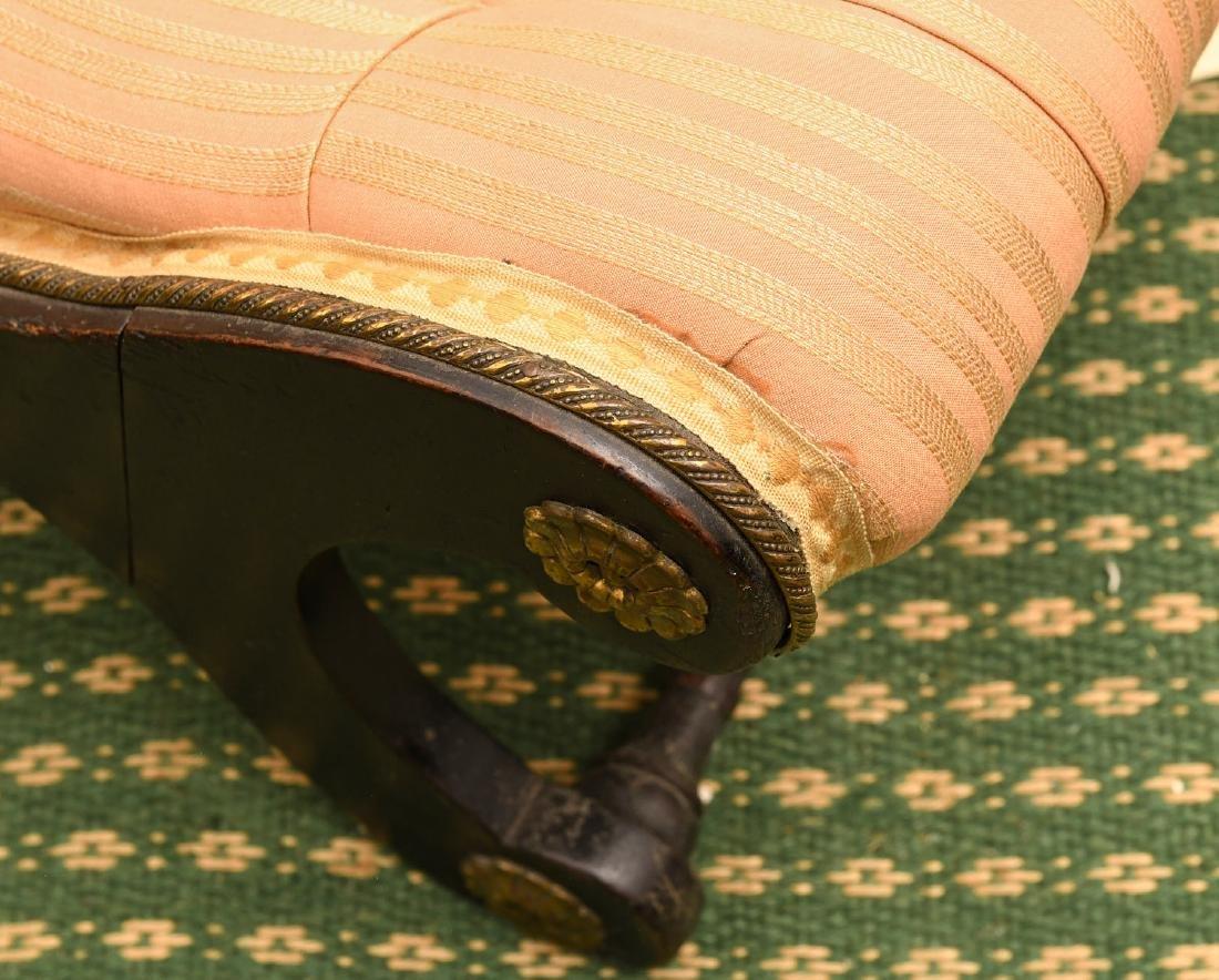 Regency style ebonized slipper chair - 5