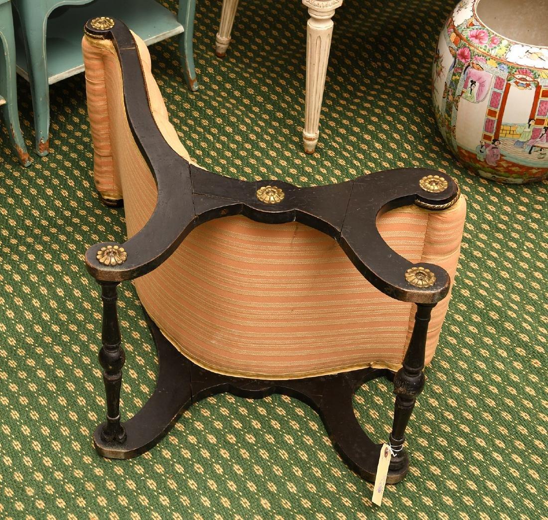 Regency style ebonized slipper chair - 6