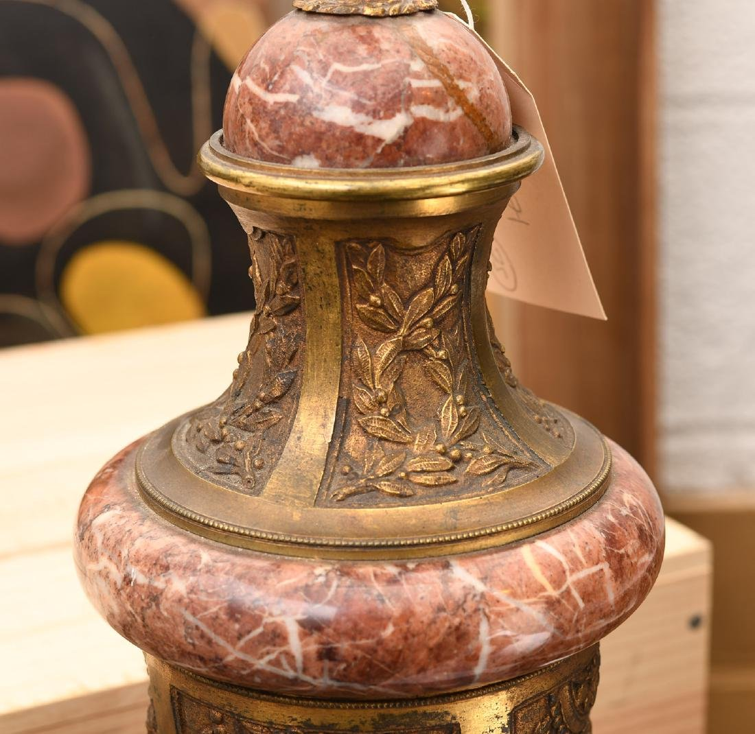 Continental bronze mounted rouge marble table lamp - 2