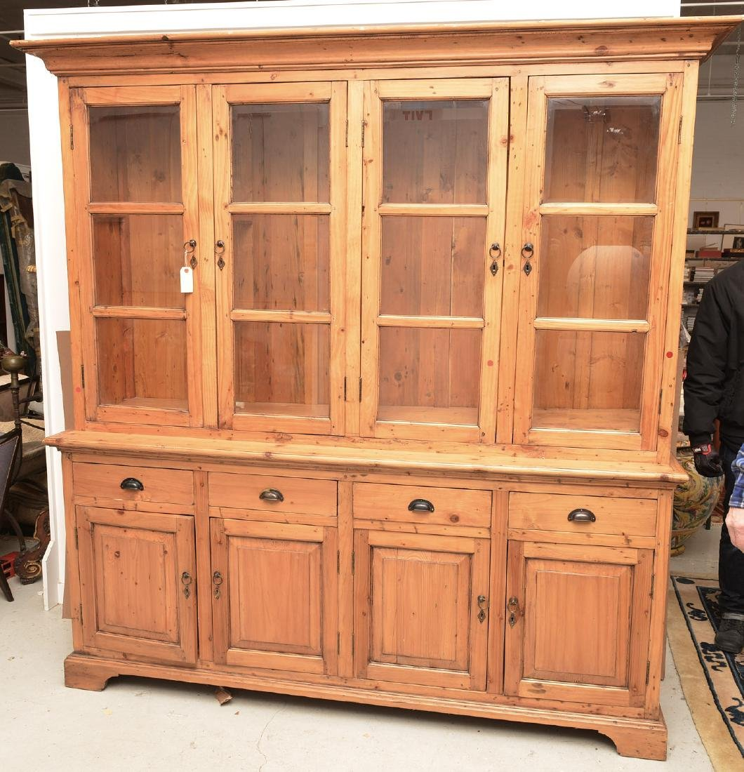 English waxed pine bookcase cabinet