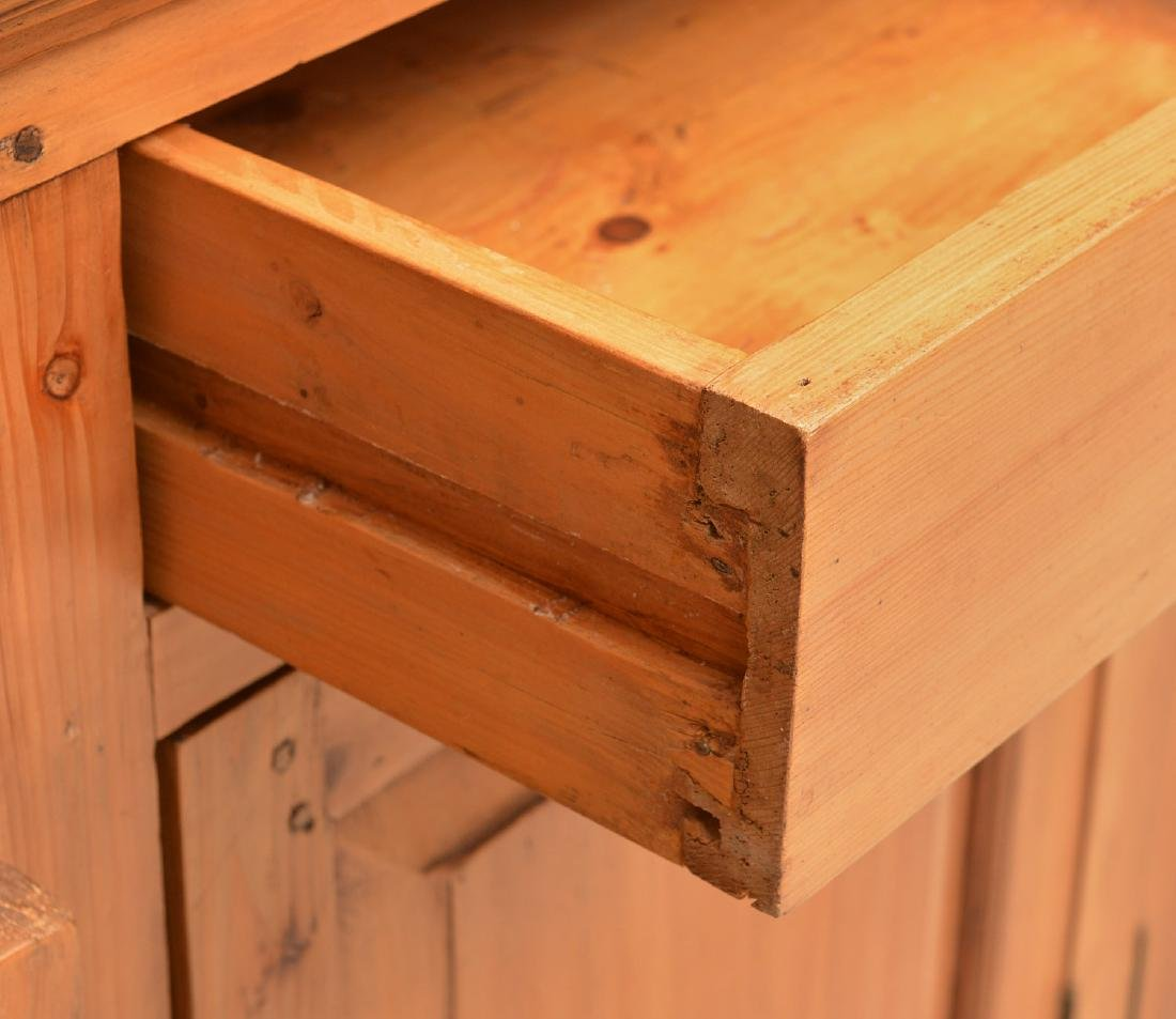 English waxed pine bookcase cabinet - 2