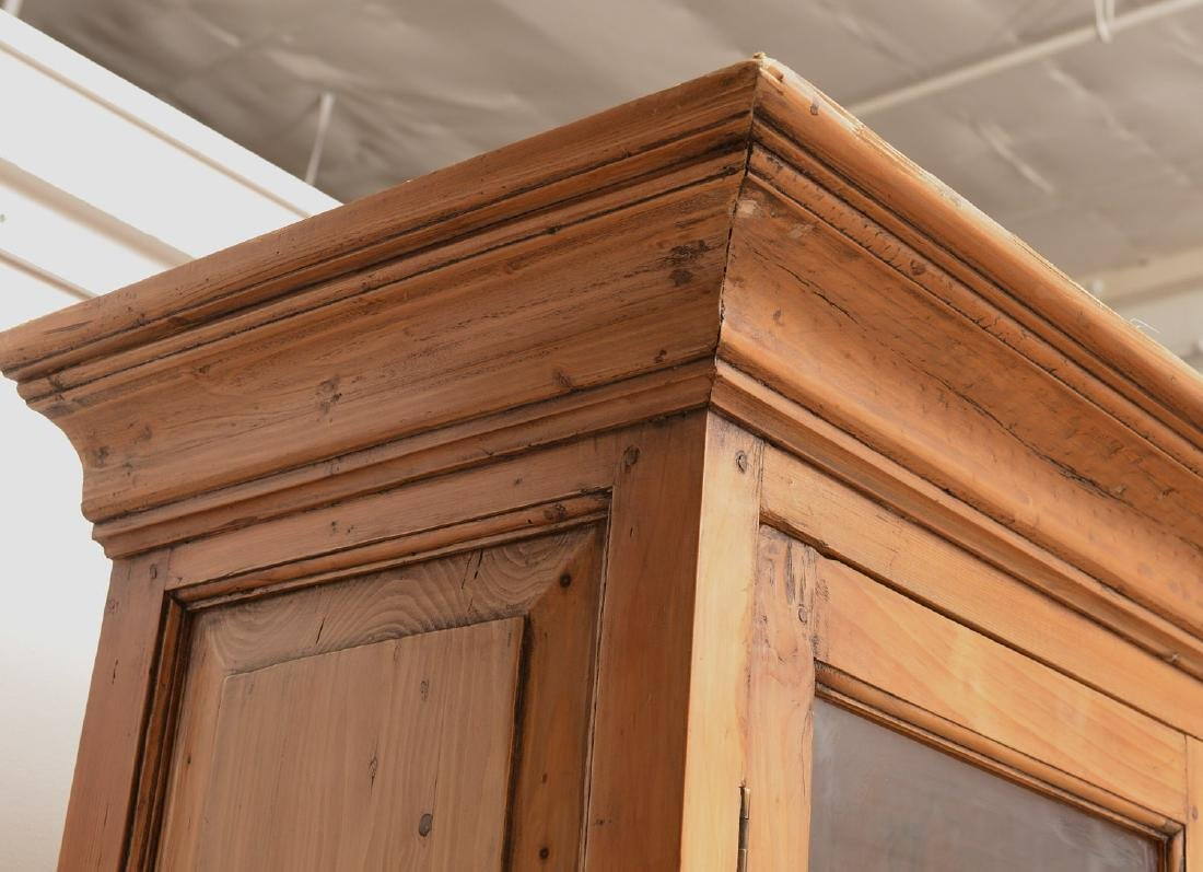 English waxed pine bookcase cabinet - 5
