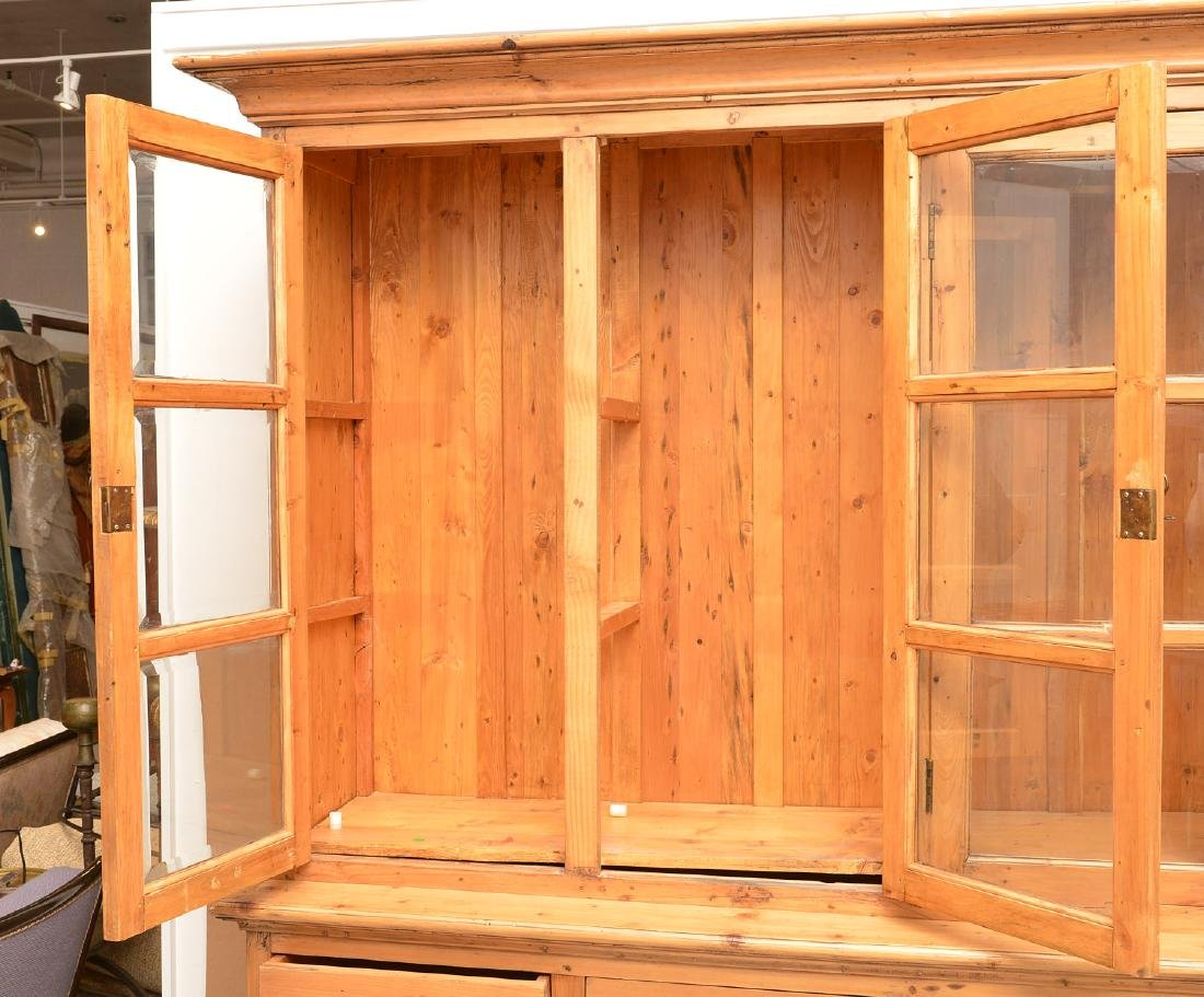 English waxed pine bookcase cabinet - 6