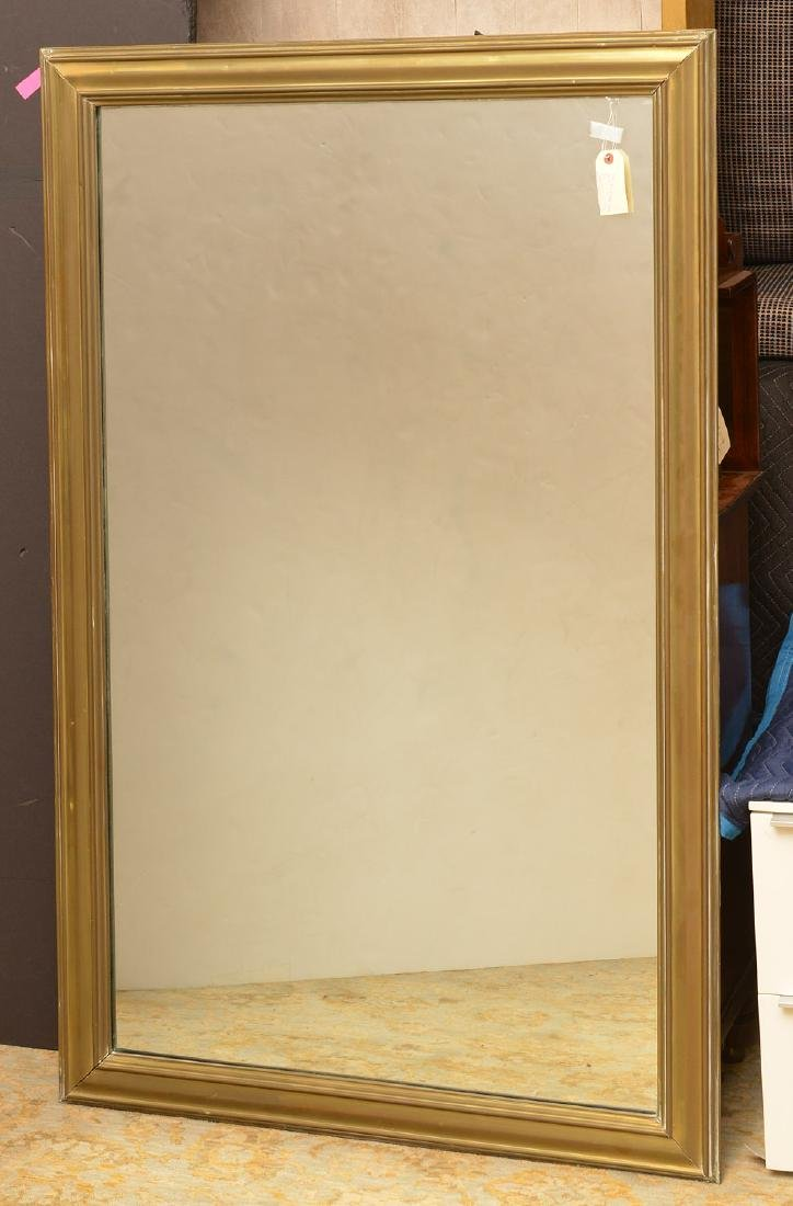 Large antique sheet brass wall mirror