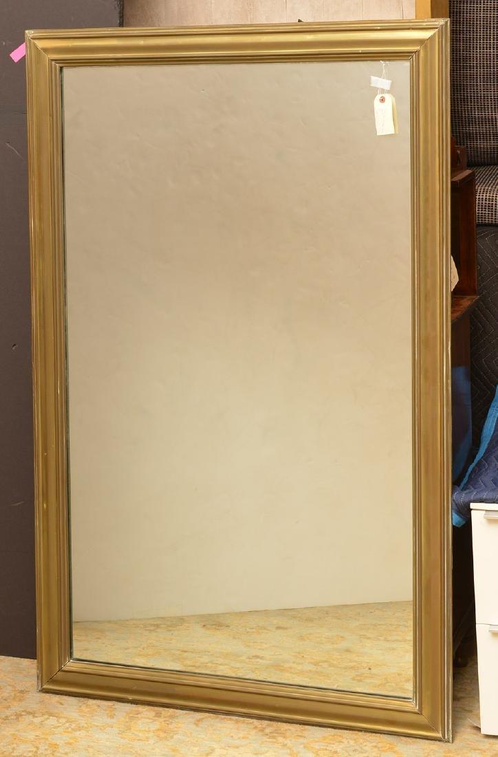 Large antique sheet brass wall mirror