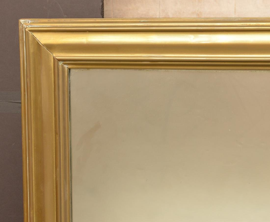 Large antique sheet brass wall mirror - 2