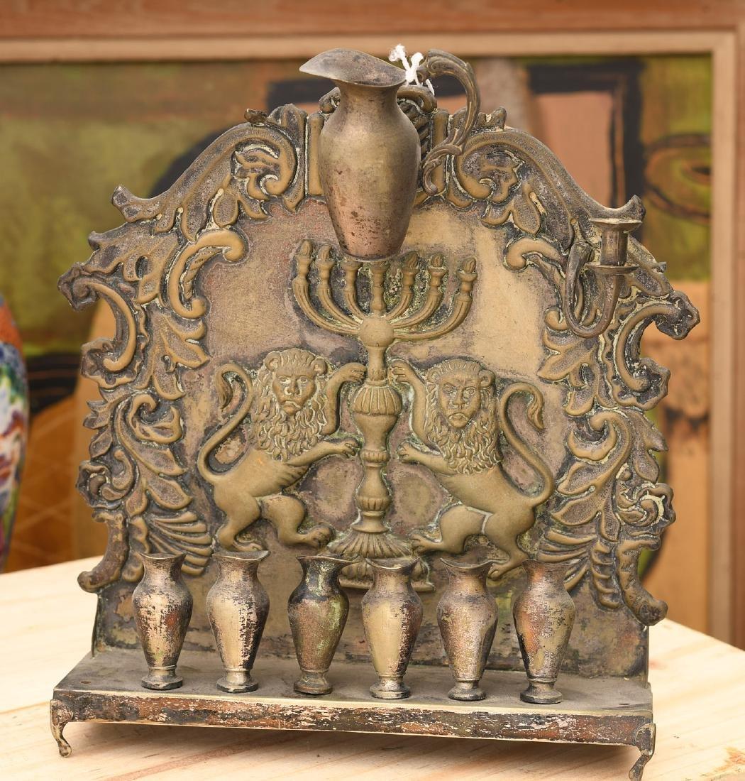 Antique silver plated Hanukkah oil menorah