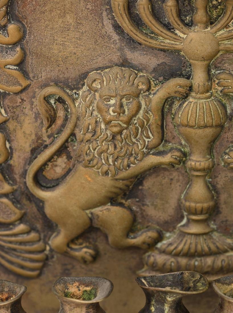 Antique silver plated Hanukkah oil menorah - 3