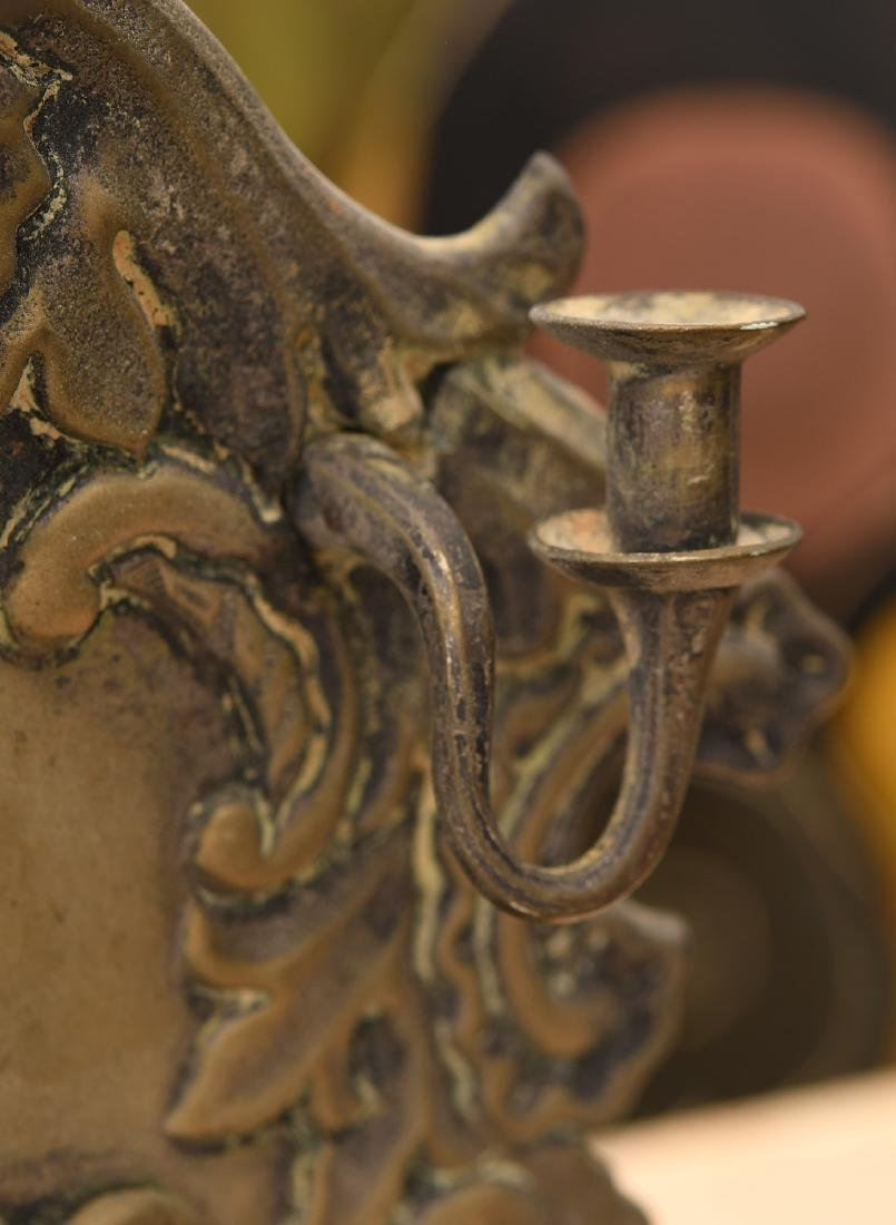 Antique silver plated Hanukkah oil menorah - 4