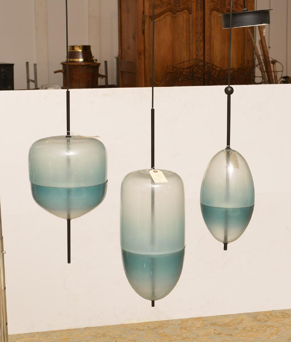 Set (3) Murano style green glass pendant lights - 2