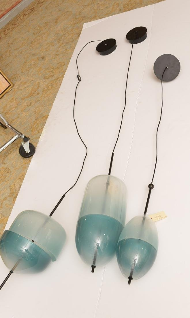 Set (3) Murano style green glass pendant lights - 5
