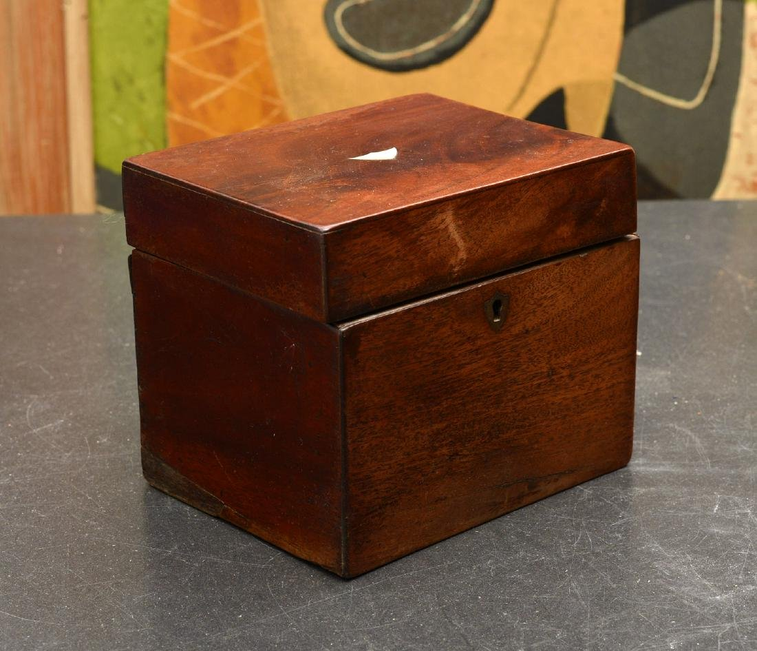 English mahogany tea caddy