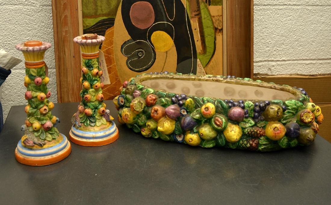 Pair of Majolica candlesticks and planter