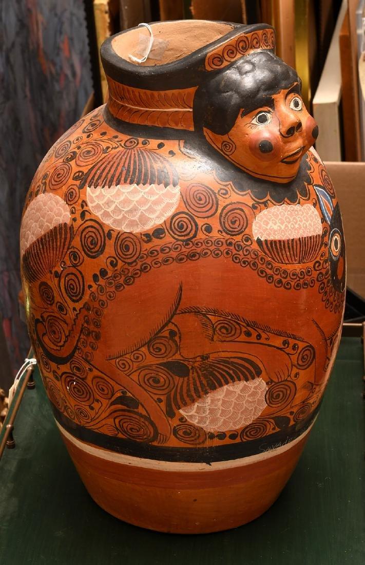 Mexican burnished clay Folk Art vase