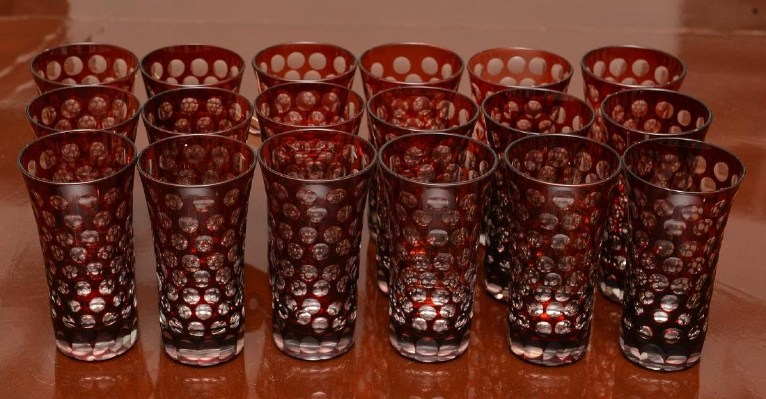 Set (18) bohemian style ruby cut-to-clear liquors