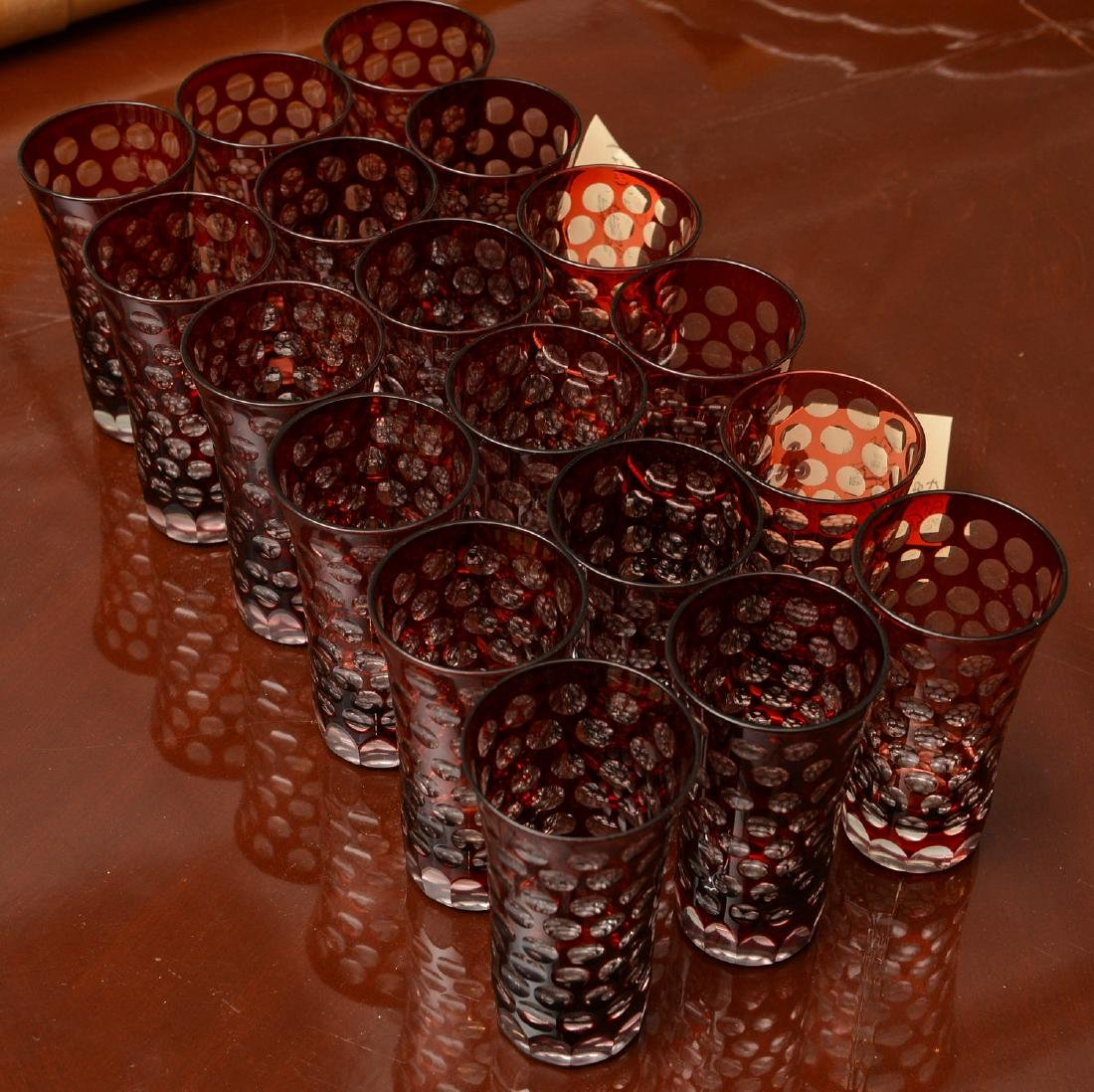 Set (18) bohemian style ruby cut-to-clear liquors - 2