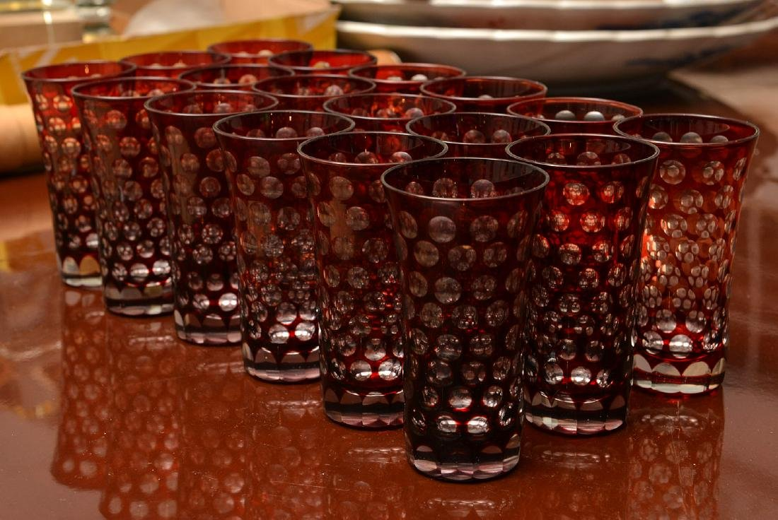 Set (18) bohemian style ruby cut-to-clear liquors - 3