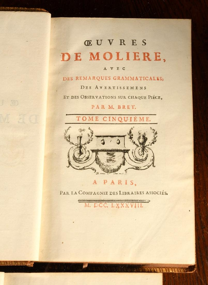 BOOKS: (6) Vols Works of Moliere 1788 French - 6