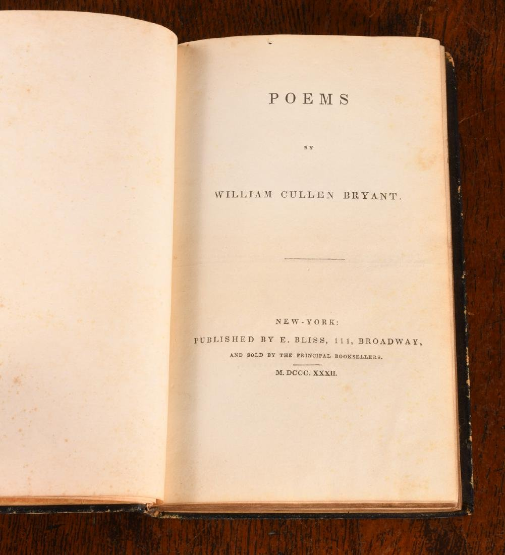 BOOKS: William Cullens Bryant 1832 Poems 1st Ed - 3