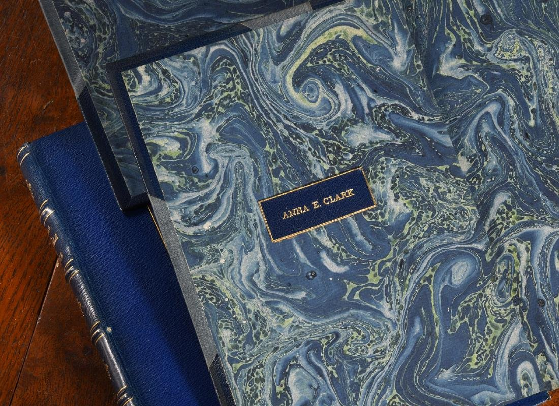 BOOKS: (3) Vols Fine Leather Binding Decorative - 4