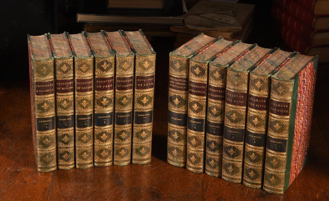 BOOKS: (12) Vols 1873 Prescott Works Fine Binding