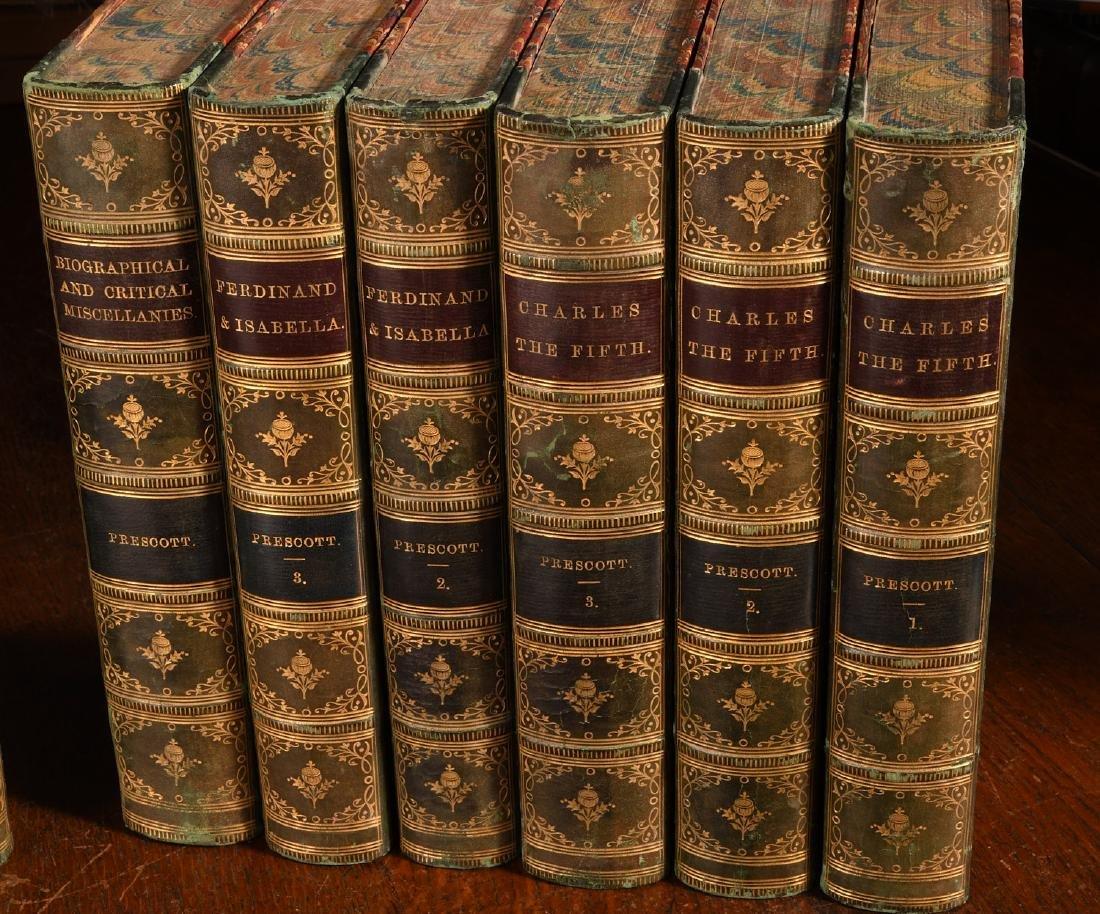 BOOKS: (12) Vols 1873 Prescott Works Fine Binding - 3