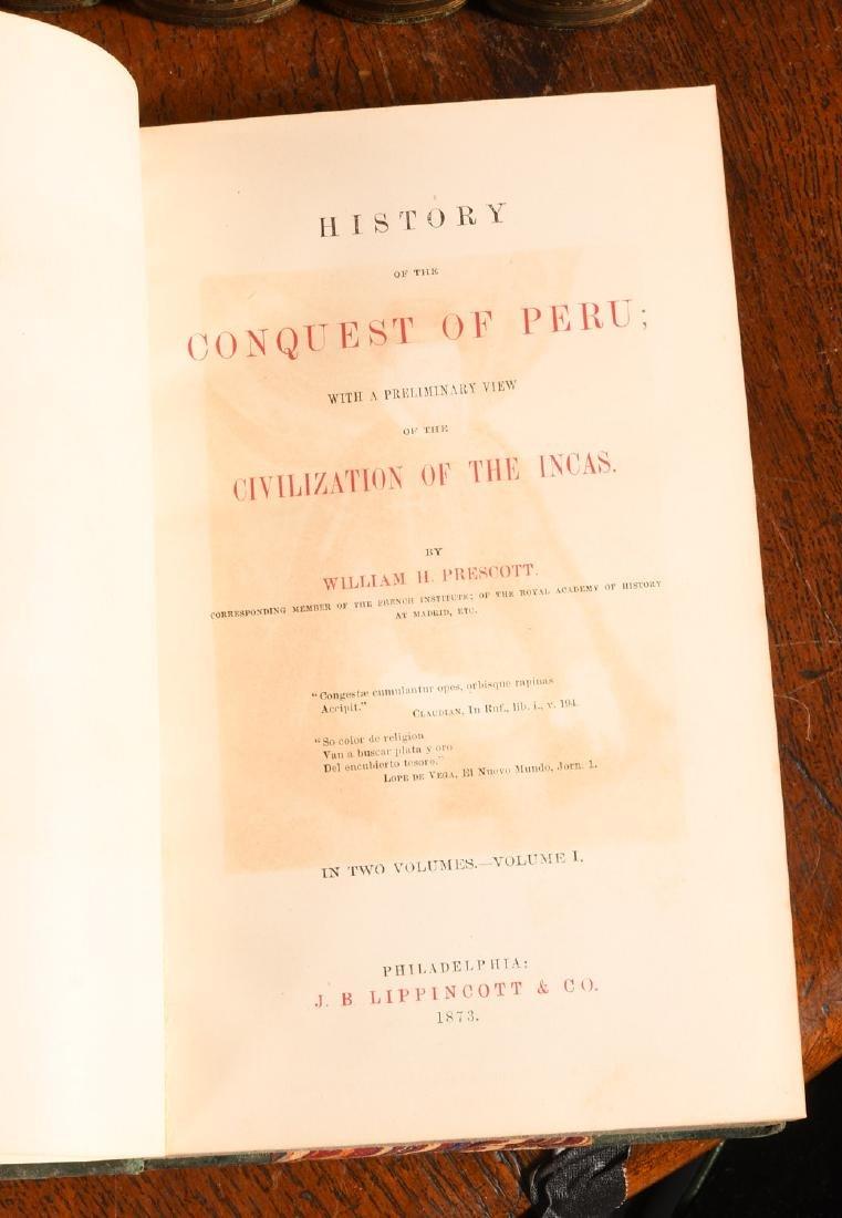 BOOKS: (12) Vols 1873 Prescott Works Fine Binding - 4