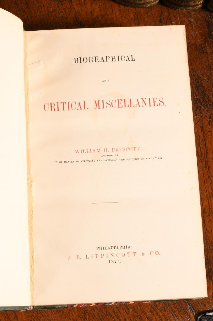 BOOKS: (12) Vols 1873 Prescott Works Fine Binding - 6