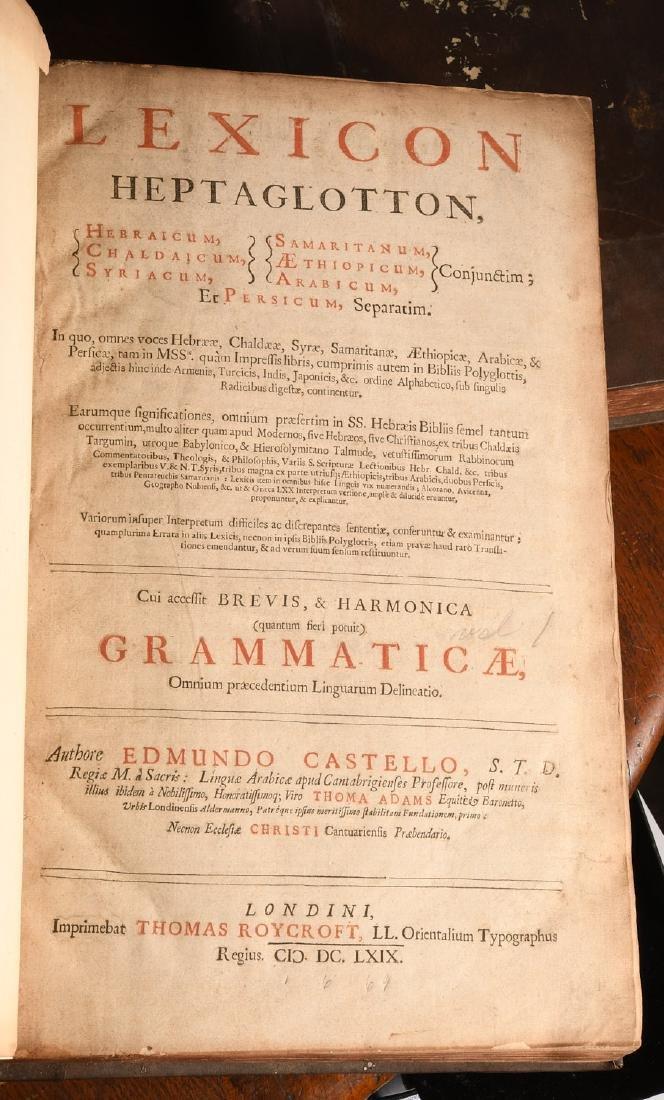 BOOKS: (2) Vols Lexicon Heptaglotton 1669 Roycroft - 3