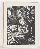 German Expressionist School linocut