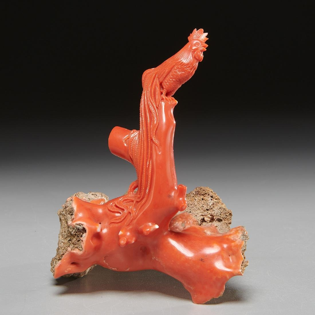 Chinese carved coral branch
