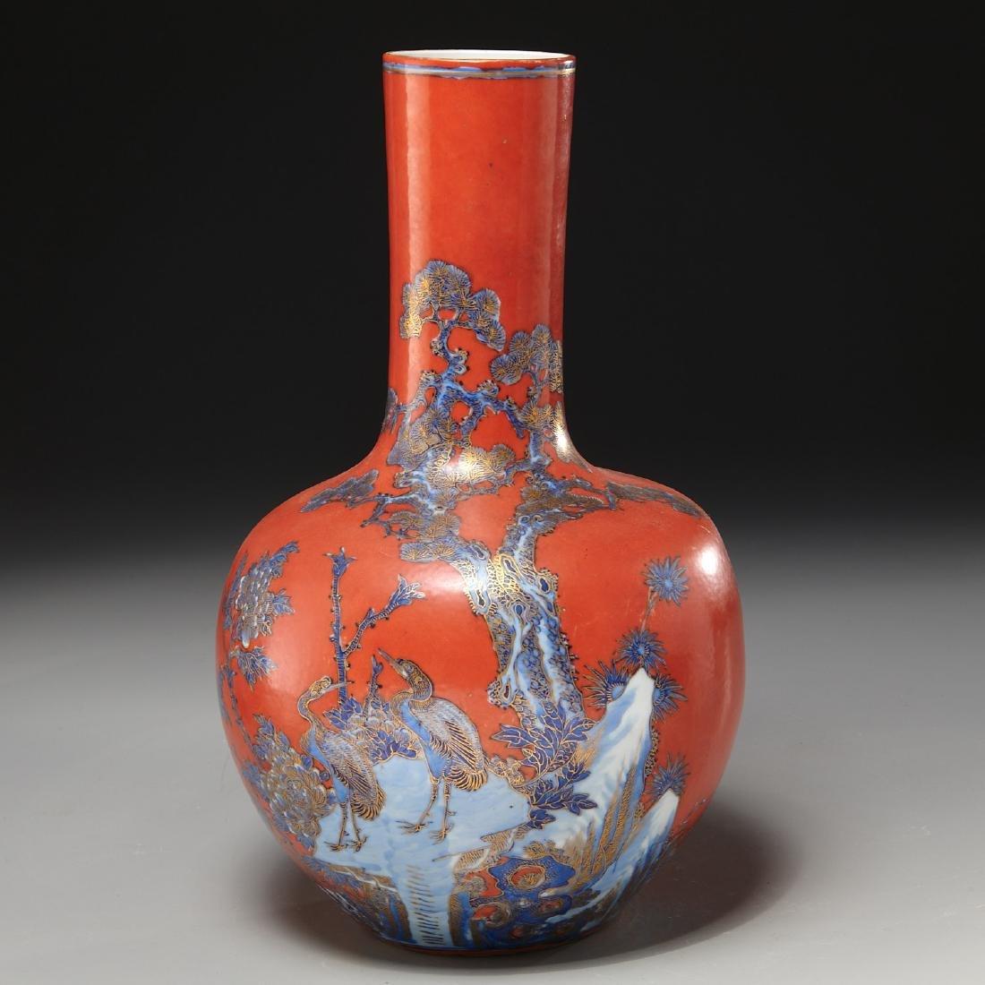 Chinese iron red ground porcelain vase