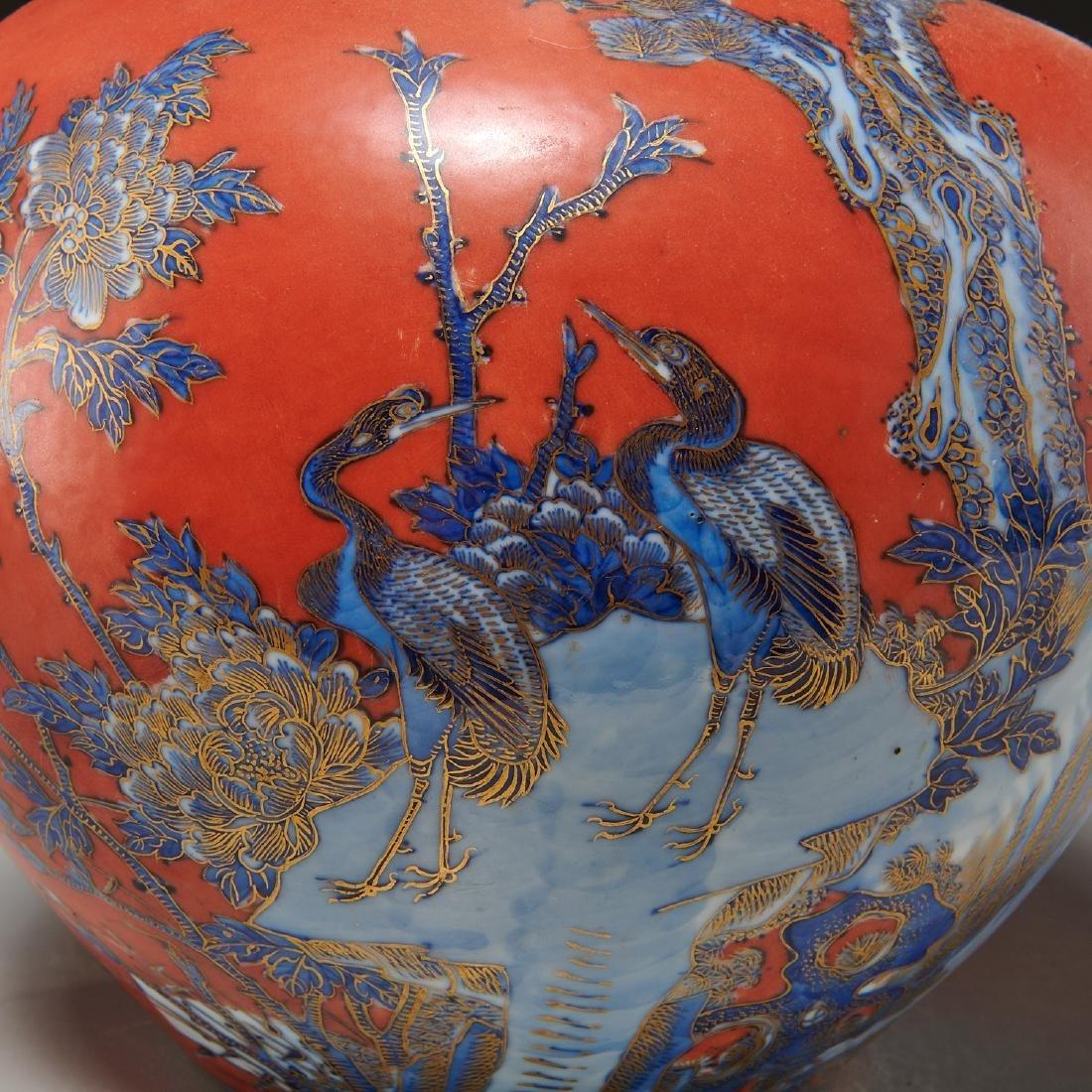 Chinese iron red ground porcelain vase - 4
