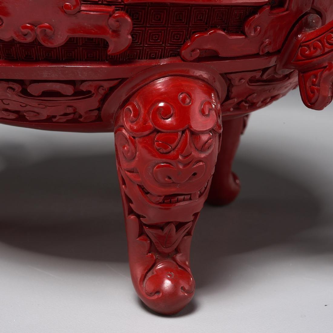Chinese archaistic style cinnabar lidded censer - 2