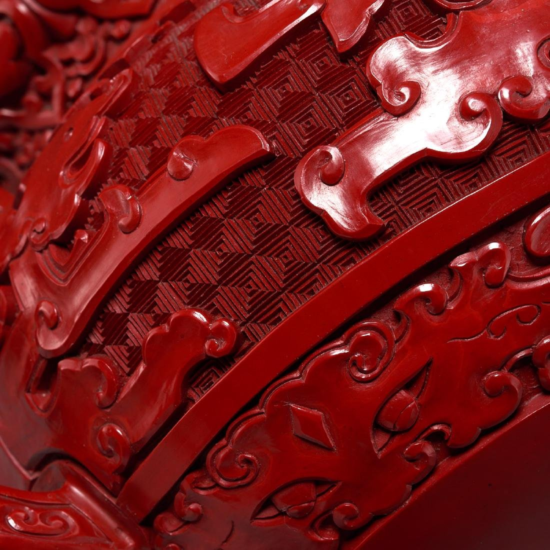 Chinese archaistic style cinnabar lidded censer - 5