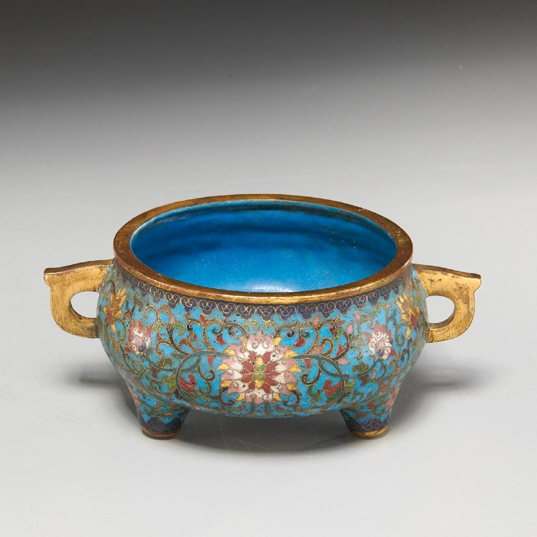 Chinese circular cloisonne censer
