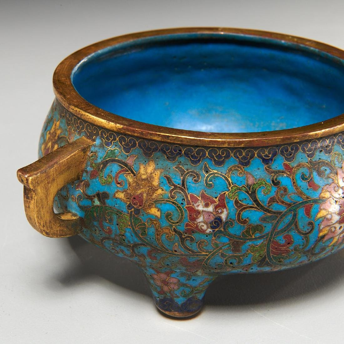 Chinese circular cloisonne censer - 2