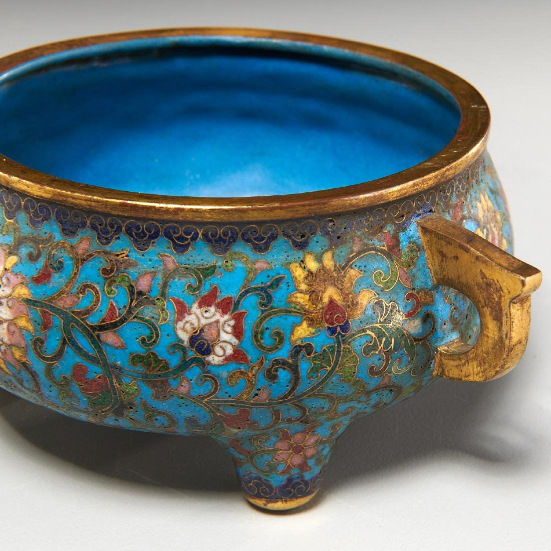 Chinese circular cloisonne censer - 3