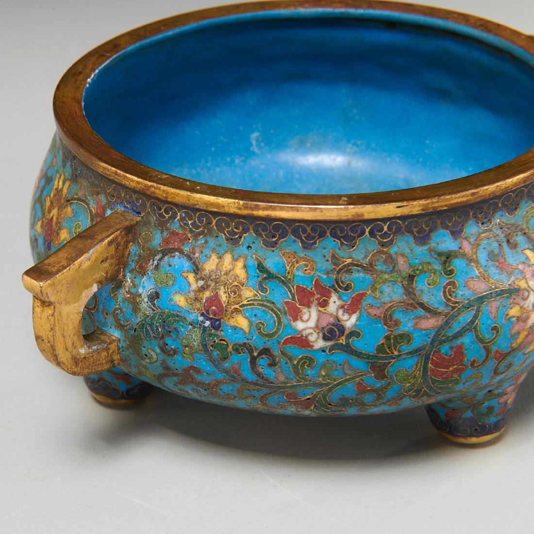 Chinese circular cloisonne censer - 4